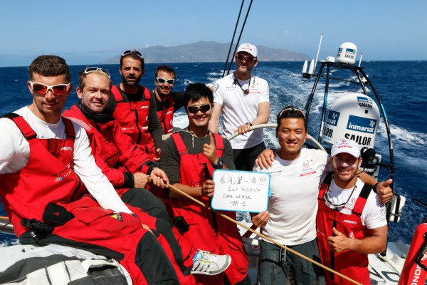 Dongfeng, leader of leg 1 of the Volvo Ocean Race, in front of Ilha Brava, Cape Verde.