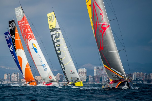 October 3, 2014. The fleet during the practice Race start in Alicante.