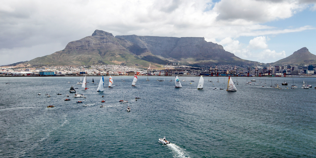 November 15, 2014. The fleet at the start of the In-Port race in Cape Town.